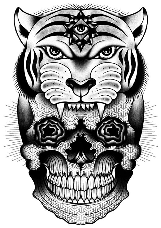 Tom Gilmour is an artist from London, England. He specialises in hand drawn black and white illustrations. Producing artwork with juxtaposing morbid imagery, mixed symbolism and relentless linework. He finds his inspiration in black tattoo art and early 80′s skateboard graphics.