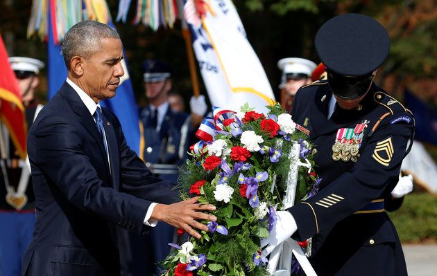 """President Barack Obama visited Arlington National Cemetery to honor veterans on Friday, giving his last Veterans Day address while in office.  Obama alluded to the anger many feel over the results of the presidential election, telling Americans to look to veterans for hope.  """"Whenever the world makes you cynical, whenever you seek true humility and selflessness, look to a veteran,"""" he said."""