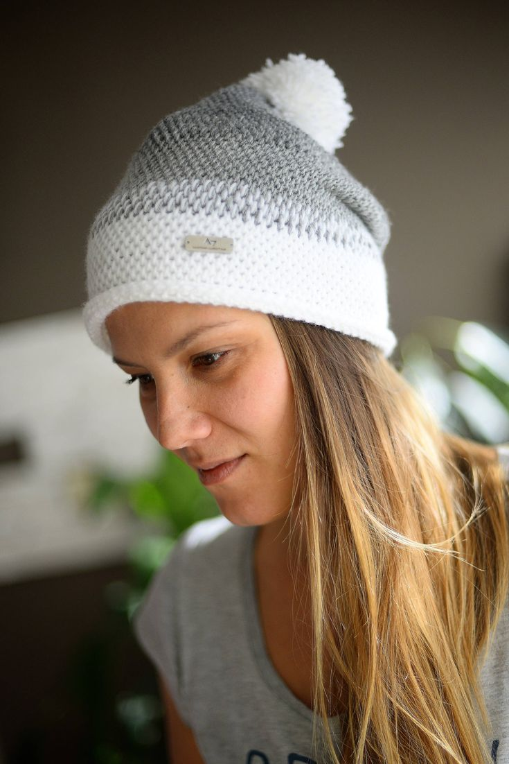 Tunisian Crochet Ombre Beanie, Winter Hat, Winter Beanie, Snowboard Beanie, White&Gray Ombre Snowboard Hat, Girls Hat by SomethingInTheMiddle on Etsy https://www.etsy.com/listing/578612213/tunisian-crochet-ombre-beanie-winter-hat