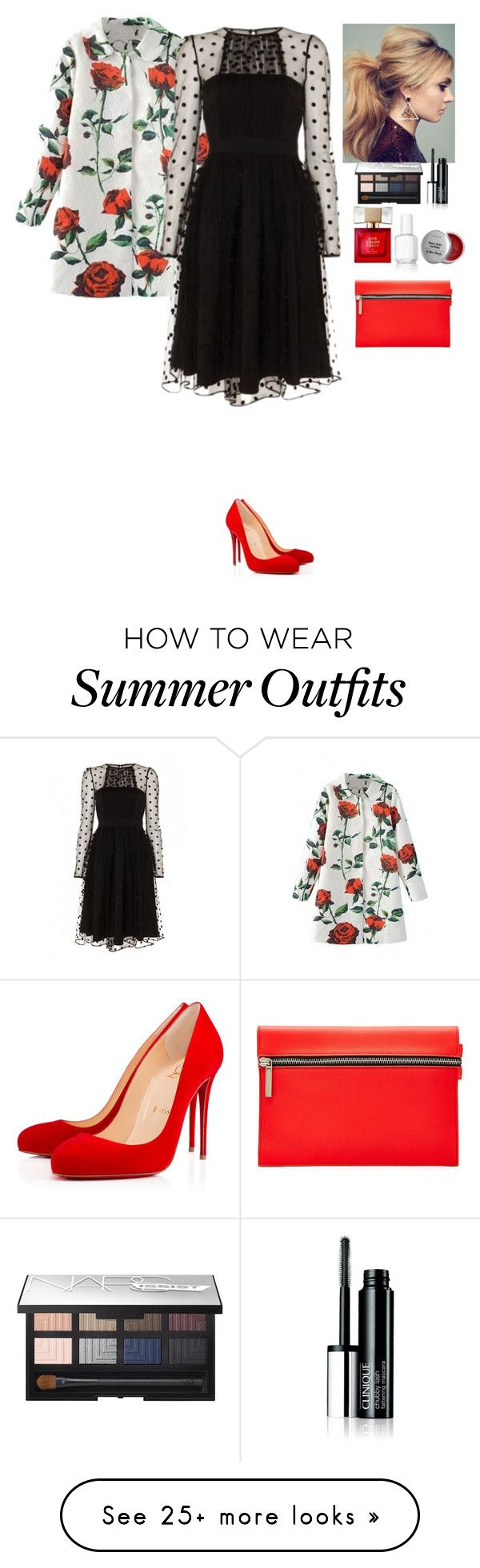 """Outfit Beautifulhalo"" by eliza-redkina on Polyvore featuring Christian Louboutin, Victoria Beckham, NARS Cosmetics, Kate Spade and Essie"
