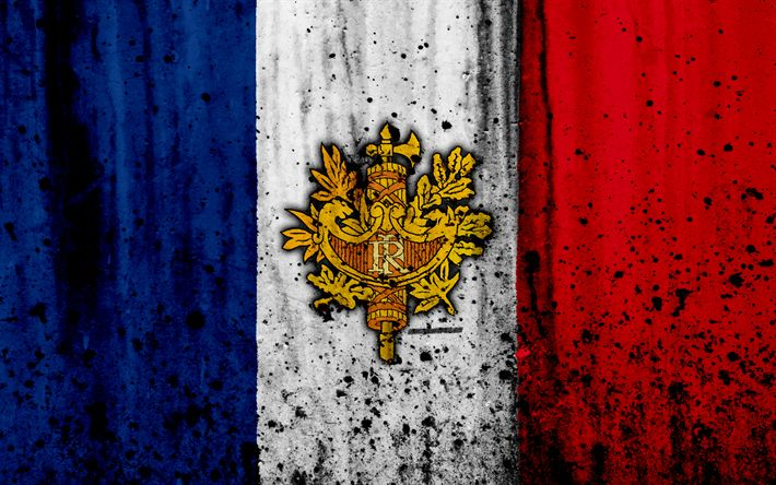 Download wallpapers French flag, 4?, grunge, flag of France, Europe, national symbols, France, coat of arms of France, French coat of arms