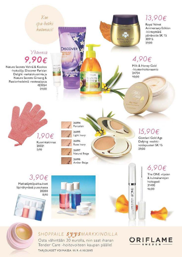 Nämä tuotetarjoukset voimassa 1.10 saakka. 30€ tilaus tuo Tender Care hoitovoiteen lahjaksi.