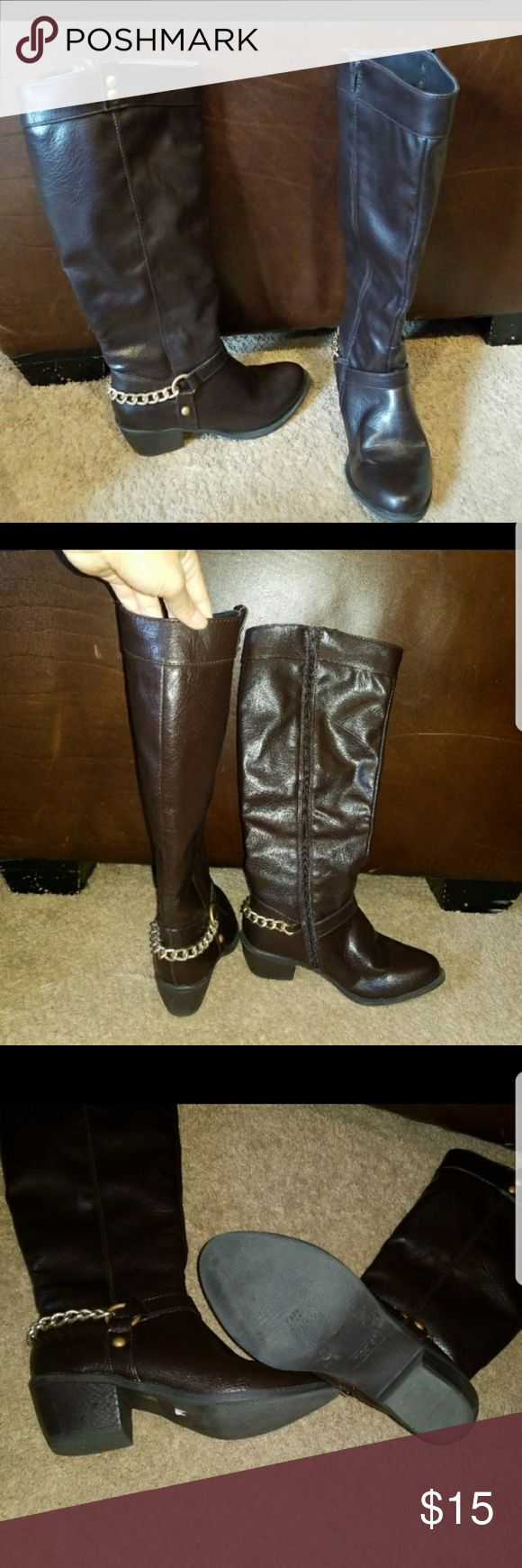 LONG BROWN ZIP UP TALL BOOTS, NICOLE, 6 Worn once, so like new. Brown tall zip up boots with gd chain detail. Size is 6. Made by Nicole in the style Durham. Check other items Nicole Shoes