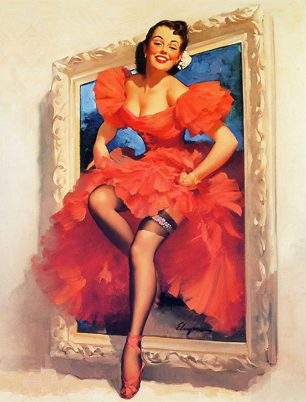 Gil Elvgren - TITLE: Stepping Out  DATE: 1955  NOTES: Publisher: Brown & Bigelow.