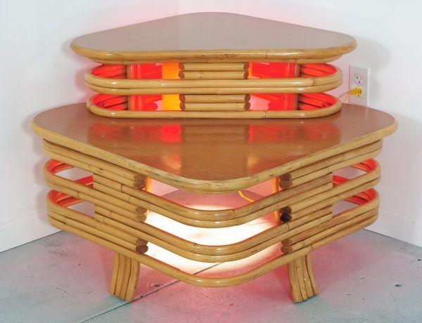 Vintage Bamboo Sofa | Vintage Bamboo Sectional Sofa & Corner Table Tropical Sun Paul Frankl ...