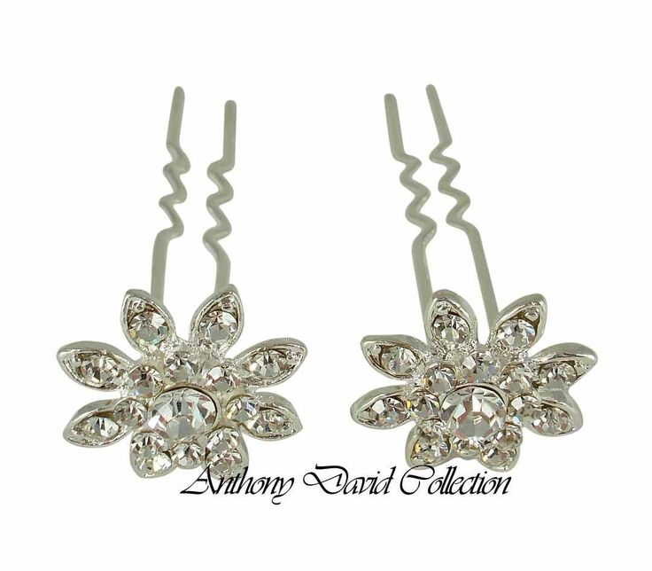 Silver Metal Crystal Bridal Hair Stick Pins - Floral Wedding Up-Do Hair Pin Set
