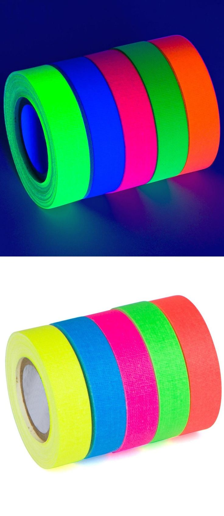 5-Pack UV Blacklight Reactive Fluorescent / Neon Gaffer Tape Matte Finish by Glow King