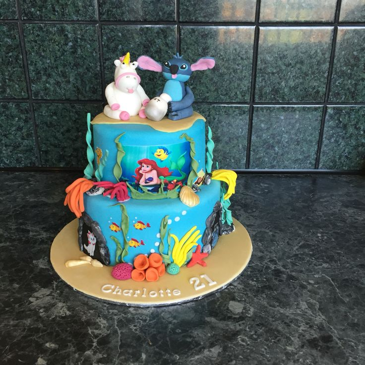 Little mermaid with Eugene the unicorn, Stitch and a few more characters .