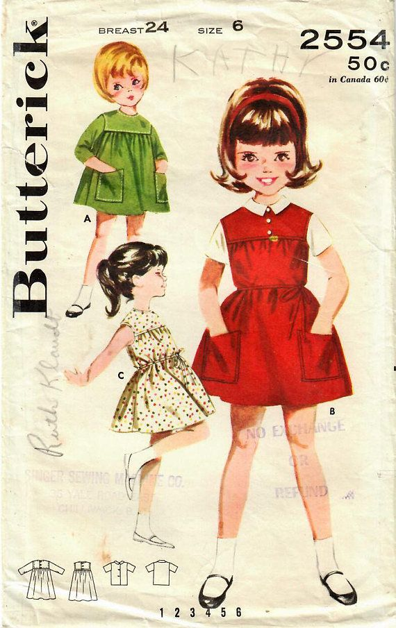 1960s Butterick 2554 Vintage Sewing Pattern Girl's Yoked
