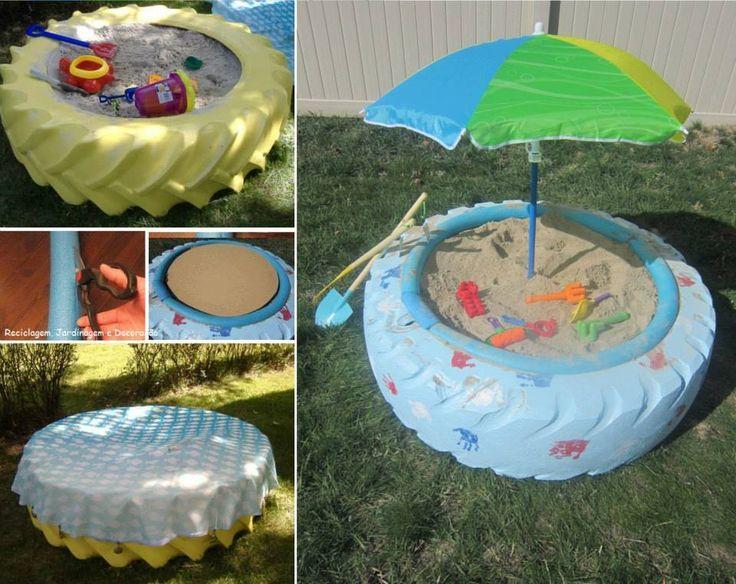 Pneu reutilizado como caixa de areia para as crian as for Ideas para piscinas plasticas