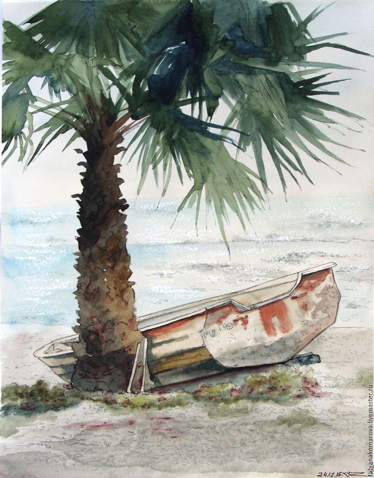 """Купить Акварельная картина """"Одинокая лодка"""" - комбинированный, акварель, акварельная картина, акварельная живопись"""