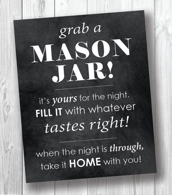 Mason Jar Wedding Favor Sign  DIY Mason Jar by BirdcageCreationsMD