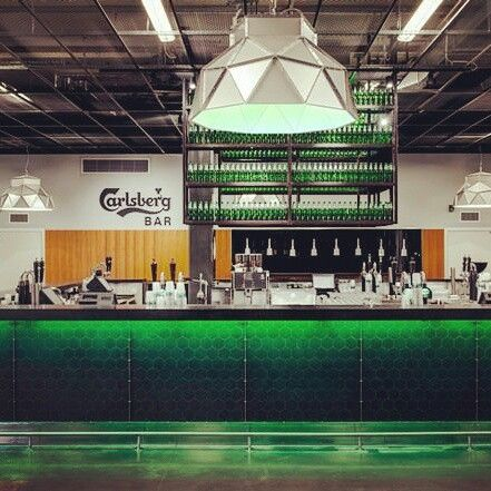 Apollo Inox-green by Romy Kühne Design for Dark at the Carlsberg bar in the Friends Arena in Stockholm , Sweden