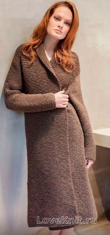 Спицами удлиненное пальто простого кроя фото к описанию