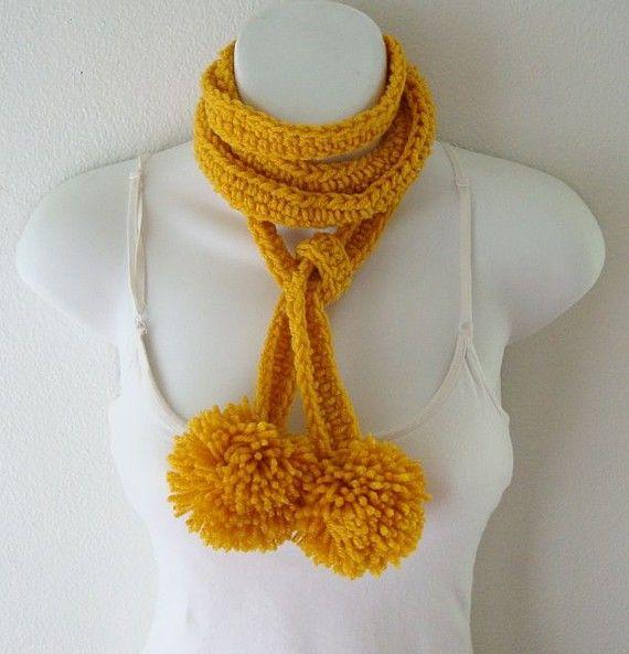 fun flirty pom poms scarf in Gold by daiseychain on Etsy