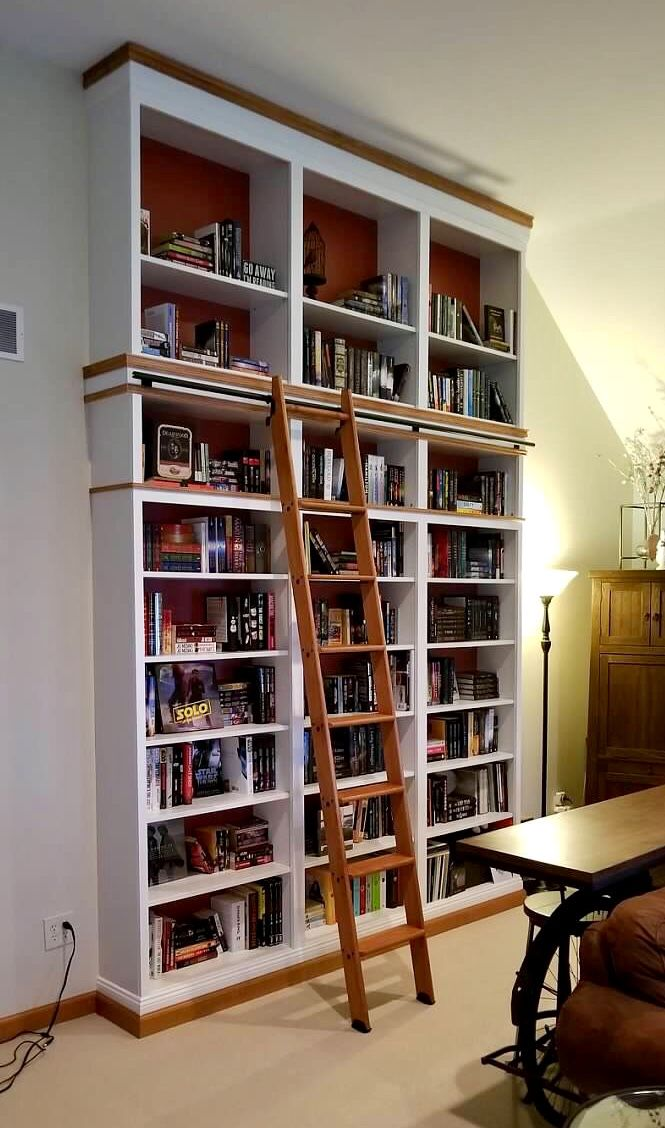 Bookshelf Ikea Billy Base Stacked With Library Ladder Ladder