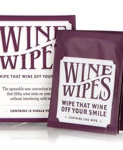Wine Wipes - a product for cleaning up your crimson smile. A disposable pad is removed from the compact and the mirror affixed to the lid guides you as you rub off the stain.