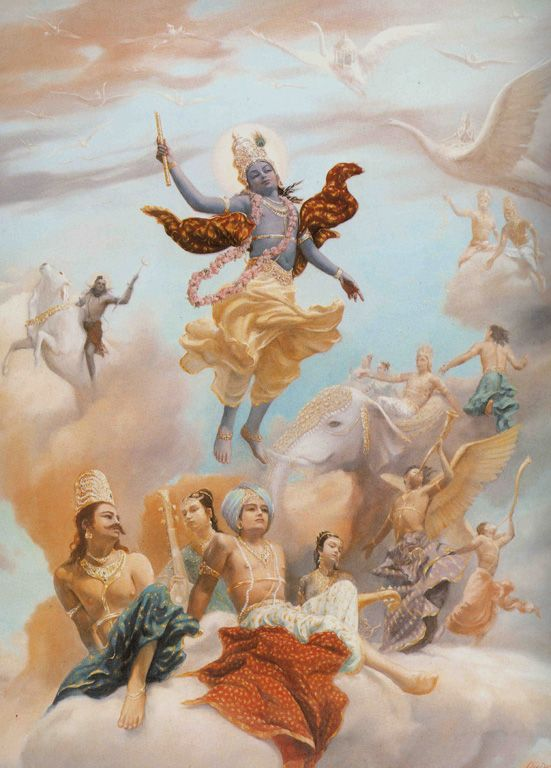 Krishna's ascent with devas looking on