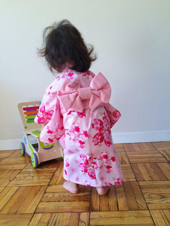 Yukata with Obi Sash for Girl Cotton Kimono Sakura in by hukuhook