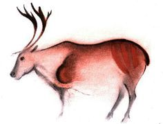 Font de Gaume painting Font-de-Gaume, reindeer, watercolour by Breuil. There are re-creations of the colours left fromt he traces on the cave paintings