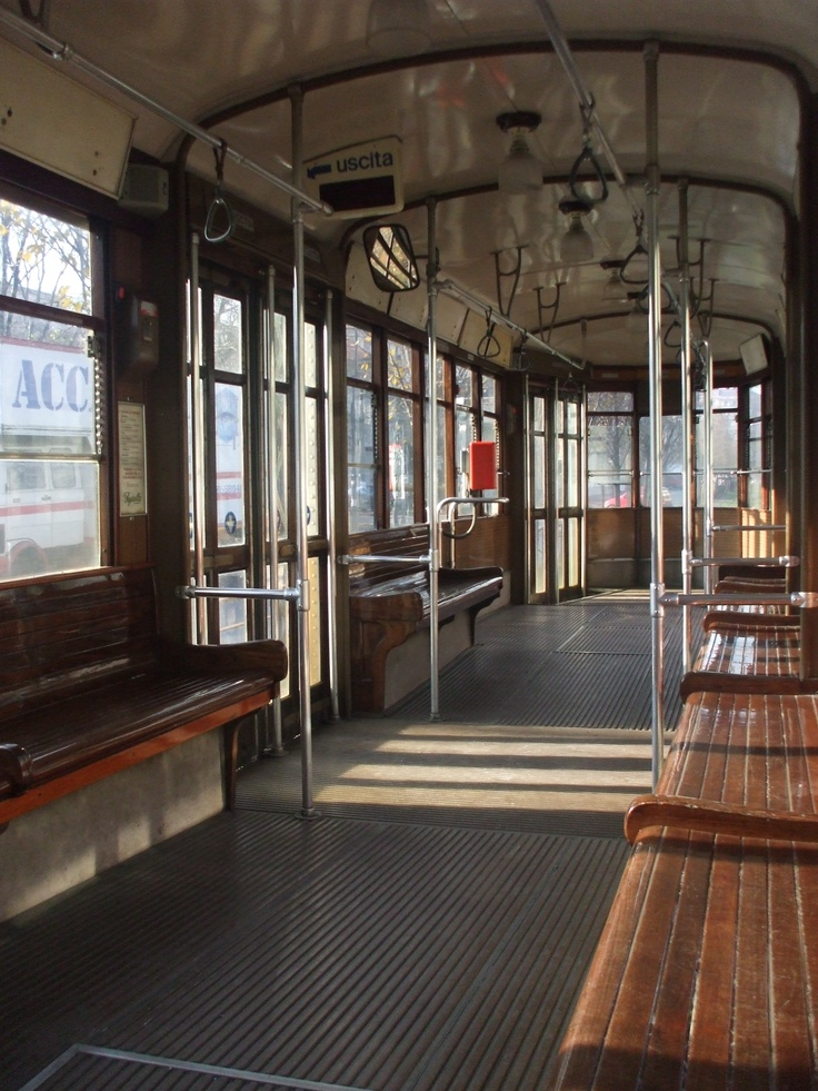 Inside one of Milan's old trams.