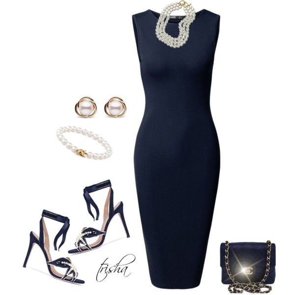 Navy Dress by pkoff on Polyvore featuring Tory Burch, Chanel, Tiffany & Co., Trilogy and Kenneth Jay Lane