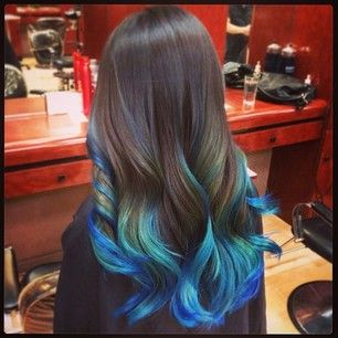 brunette turquoise blue ombr