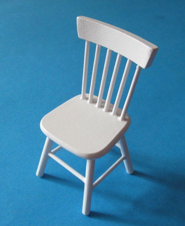 Elegant Küchen Stuhl Holz Weiss Puppenhaus Möbel Miniaturen 1:12