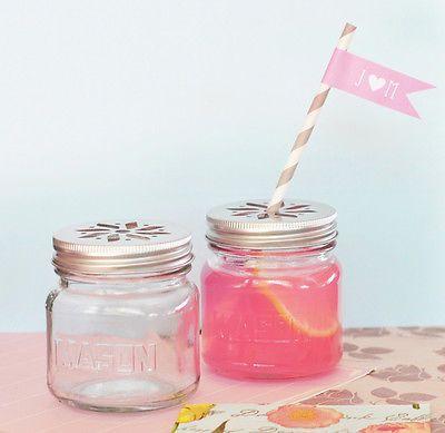50 diy mason jar drinking glass flower lid birthday baby bridal wedding favor - Mason Jar Drinking Glasses