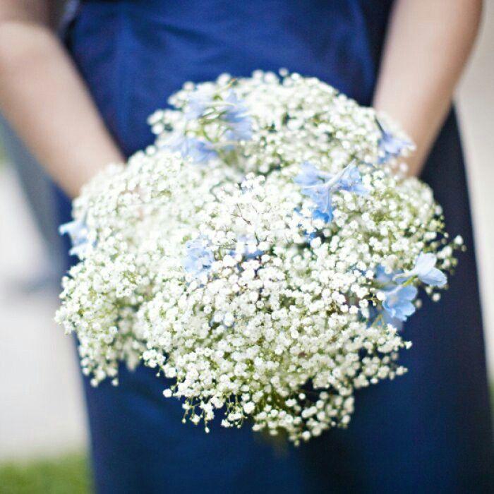 Bridesmaid's Bouquet: White Gypsophila (Baby's Breath) + Blue Delphinium