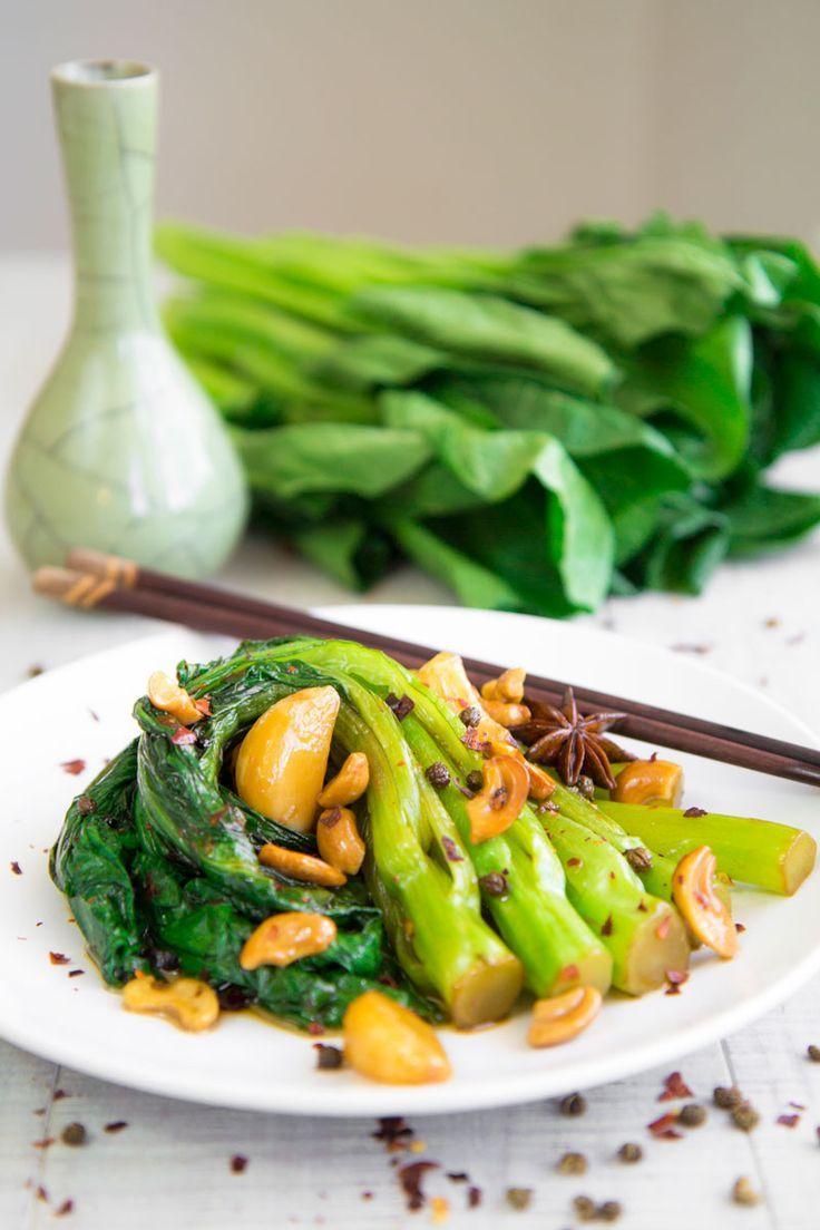 Gai Lan Chinese Broccoli Stir Fry With Sichuan Pepper And Garlic