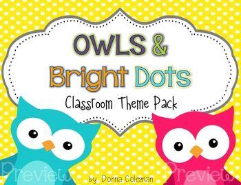 Owl and Polka Dot Classroom Theme Pack {Editable}