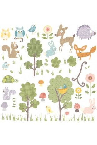 Kids wall Stickers - Forest Animals Wall Decals