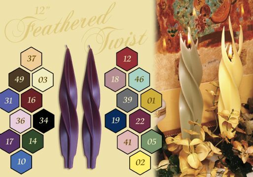 8904 12″ Feathered Twists, PAIR – Dadant Candles