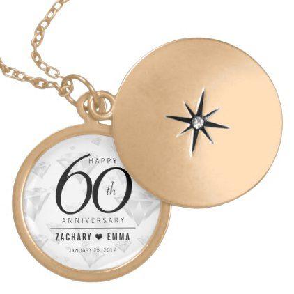 Elegant 60th Diamond Wedding Anniversary Gold Plated Necklace - accessories accessory gift idea stylish unique custom