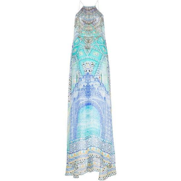 Camilla Halter-Neck Maxi Dress (€370) ❤ liked on Polyvore featuring dresses, blue, camilla dresses, halter top, colorful maxi dress, halter dress and blue halter top