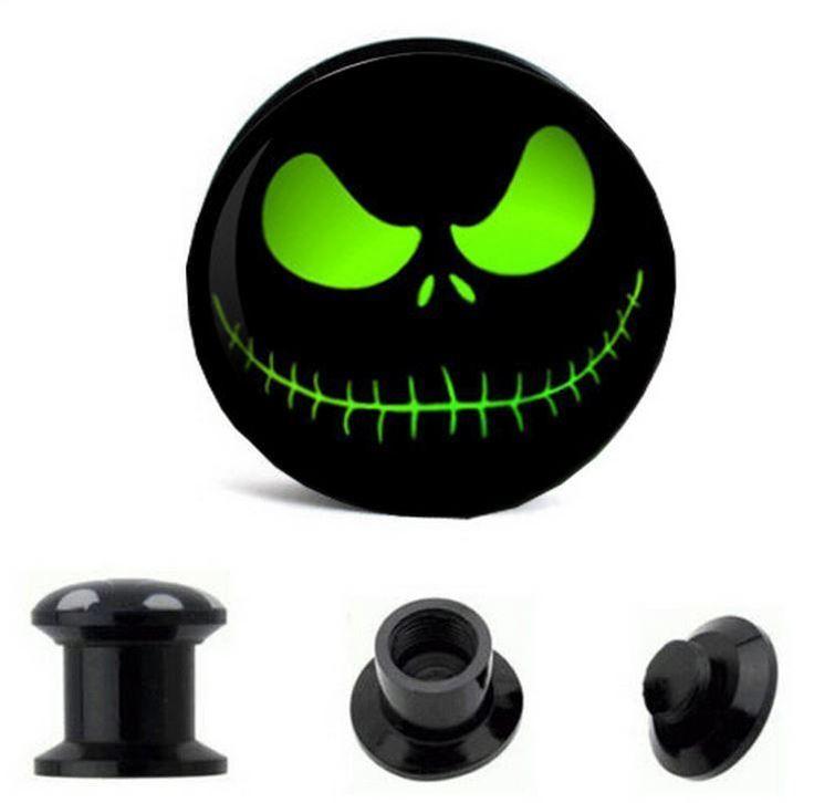 Pair Jack face green acrylic plugs screw fit Nightmare Christmas gauge piercing #Unbranded