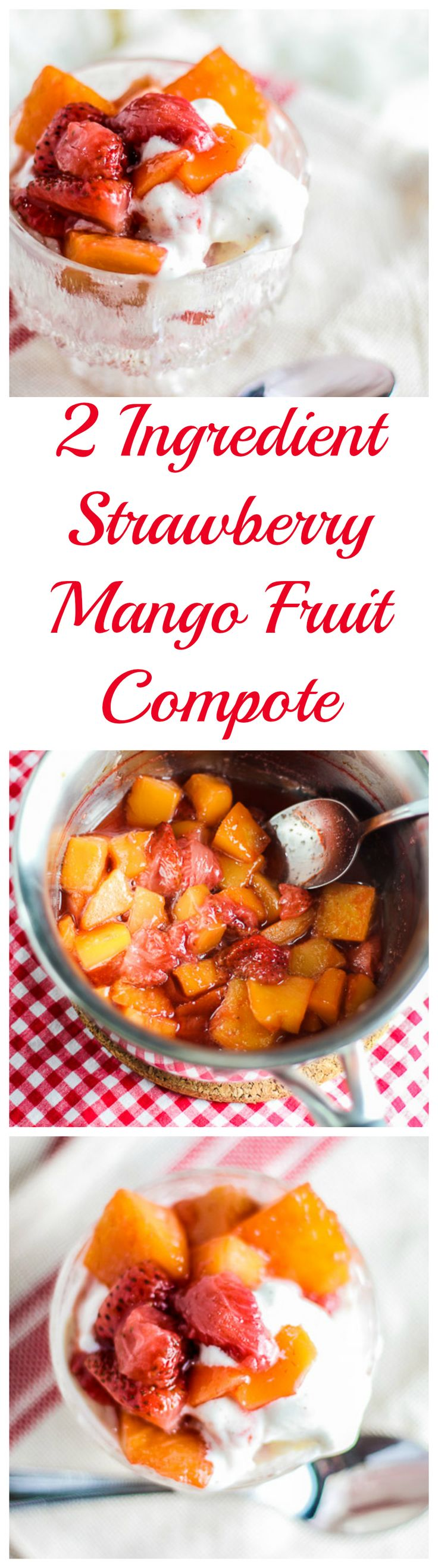 Lightly sweet and fresh Strawberry Mango Fruit Compote Over Vanilla Ice Cream - SO quick to make with only 2 ingredients! #compote #fruitcompote #youtube #foodblog #dessert #valentinesday