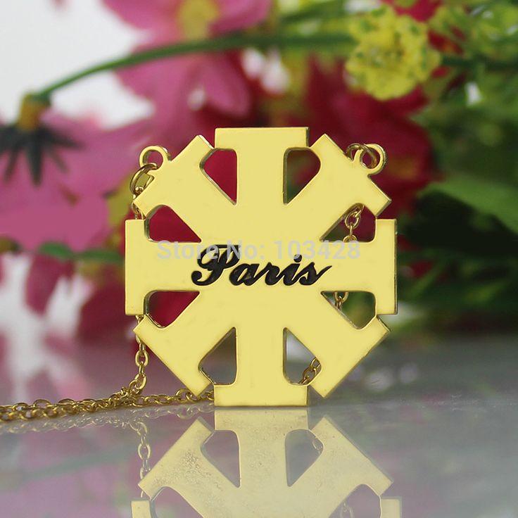 Персонализированные Начальная Ожерелье Креста Золотой Гравировкой Крест Ожерелье Крещение Крест Кулон Религия Ювелирные Изделия