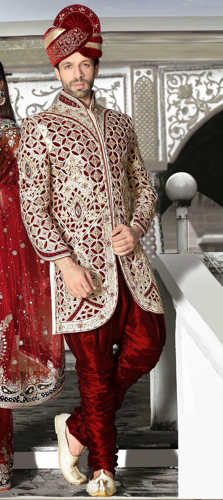 500898: White and Off White color family Sherwani.