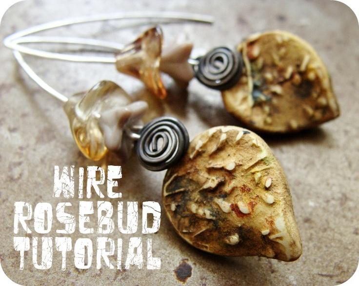 Art Bead Scene Blog: Wire Rosebud Earrings Tutorial