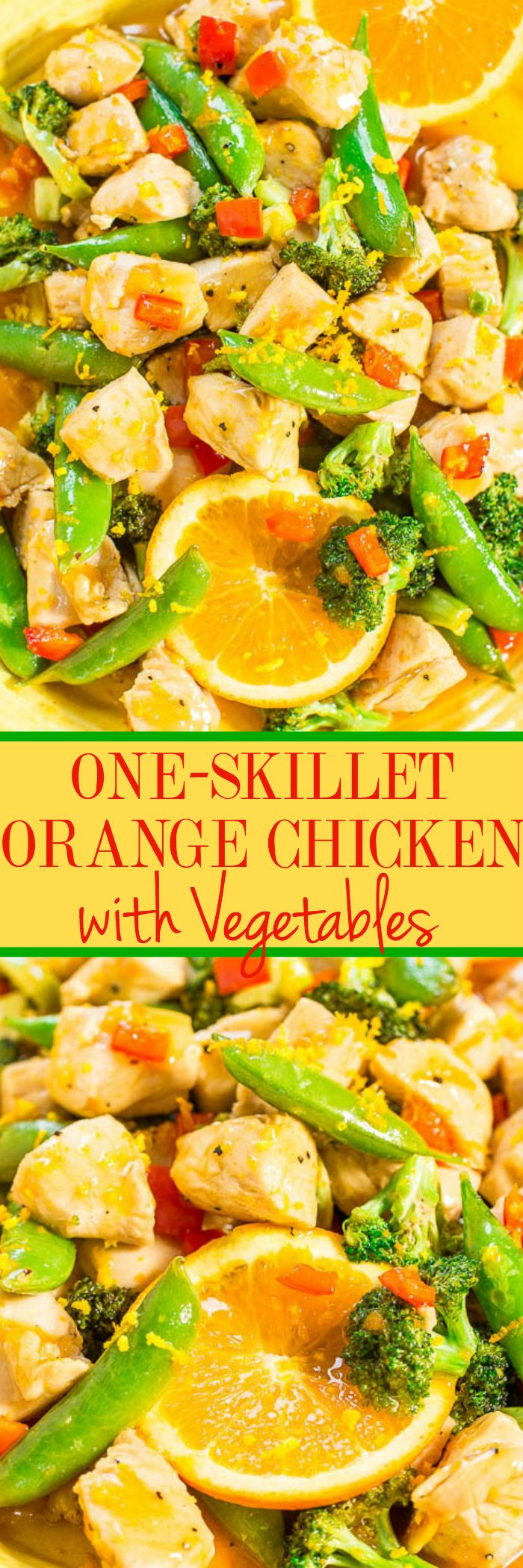 One-Skillet Orange Chicken with Vegetables - Easy, ready in 15 minutes, healthy (no breading, no frying), and the orange flavor just POPS!! Perfect for busy weeknights or casual entertaining and you'll make this over and over!!