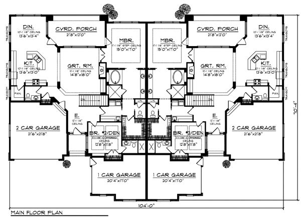 Duplex plan chp 32564 at duplex for Quadruplex floor plans