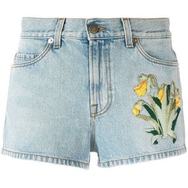 Gucci embroidered denim shorts ($1,200) ❤ liked on Polyvore featuring shorts, bottoms, blue, jean shorts, denim short shorts, blue floral shorts, mini denim shorts and mini jean shorts