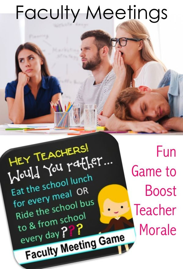 """Teacher Version """"Would You Rather"""" Game for faculty meeting fun & stress relief"""