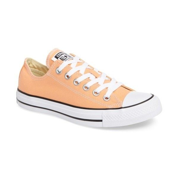 Women's Converse Chuck Taylor All Star Seasonal Ox Low Top Sneaker ($33) ❤ liked on Polyvore featuring shoes, sneakers, sunset glow, converse trainers, canvas sneakers, low top, plimsoll shoes and converse sneakers