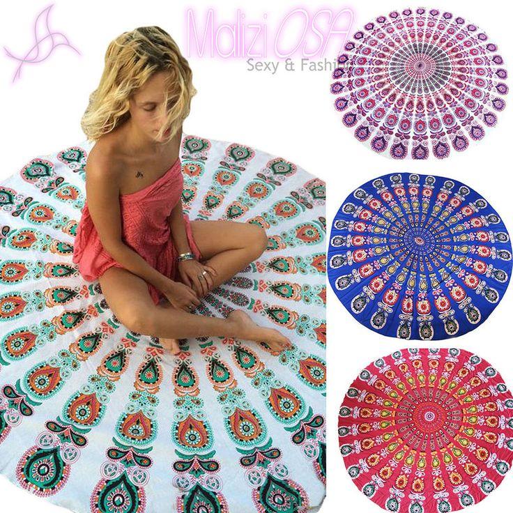 Telo Mare Rotondo Mare Spiaggia Picnic Asciugamano Disegno Mandala Boho Hippie