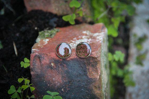 Unidentifies leaves resin earrings studs Garden by SavageSpell