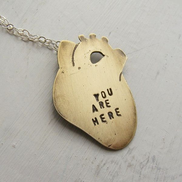 heart necklace: Wedding Gift, Copper, Gift Ideas, Heart Shape, Heart Necklaces, My Heart, Brass, Anatomical Heart, Medium