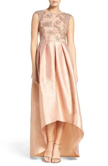 Free shipping and returns on Adrianna Papell Floral Beaded Taffeta High/Low Gown at Nordstrom.com. Glittering embellishments trace a lovely floral motif at the bodice and blanket the cap sleeves of a shimmering taffeta gown that makes a sweeping statement with a pleat-flared high/low hem.